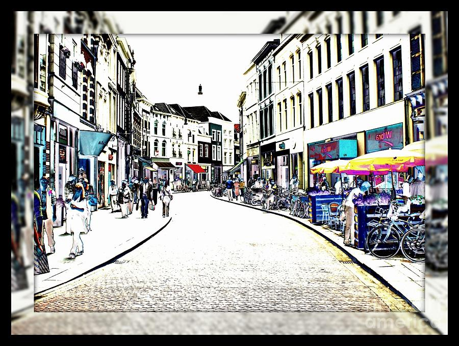 Dutch Shopping Street- Digital Art Photograph  - Dutch Shopping Street- Digital Art Fine Art Print