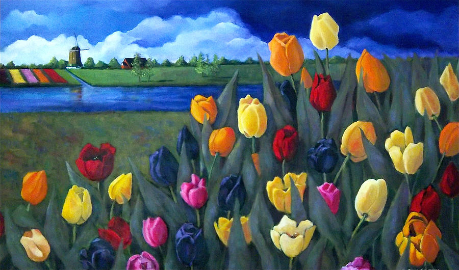 Dutch Tulips With Landscape Painting