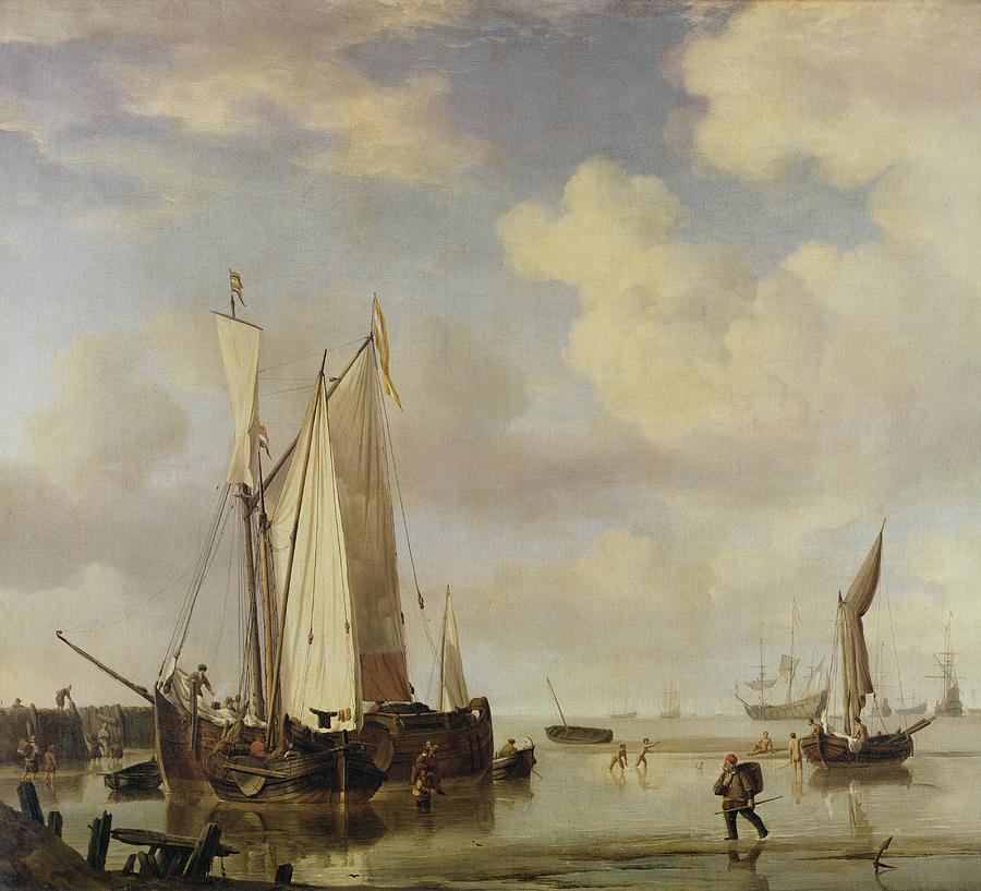 Dutch Vessels Inshore And Men Bathing Painting
