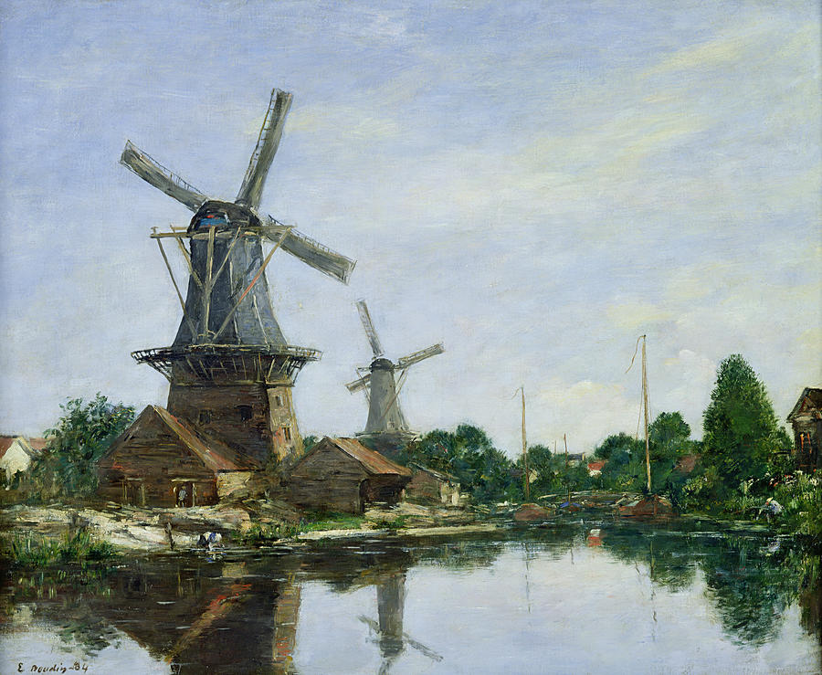 Dutch Windmills by Eugene Louis Boudin Dutch Windmill Painting