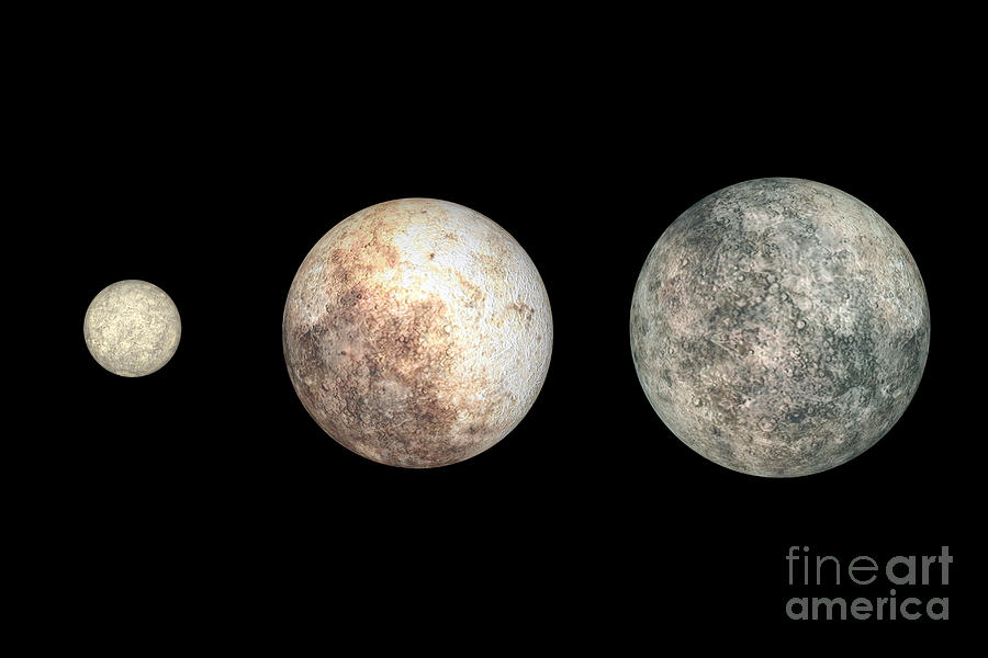 Dwarf Planets Ceres, Pluto, And Eris Digital Art  - Dwarf Planets Ceres, Pluto, And Eris Fine Art Print