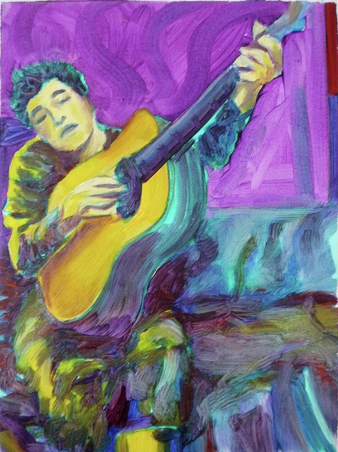 Dylan In Green And Purple Painting