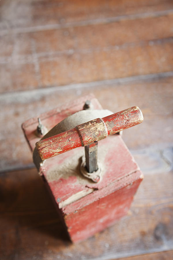 Dynamite Detonator Box. Plunger Handle Photograph  - Dynamite Detonator Box. Plunger Handle Fine Art Print