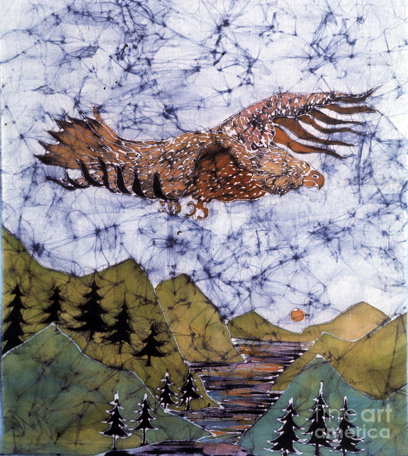Eagle Flies Above Gorge Tapestry - Textile