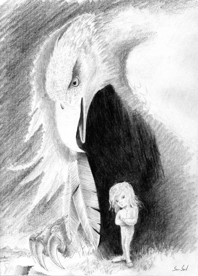Eagle Guardian Drawing  - Eagle Guardian Fine Art Print