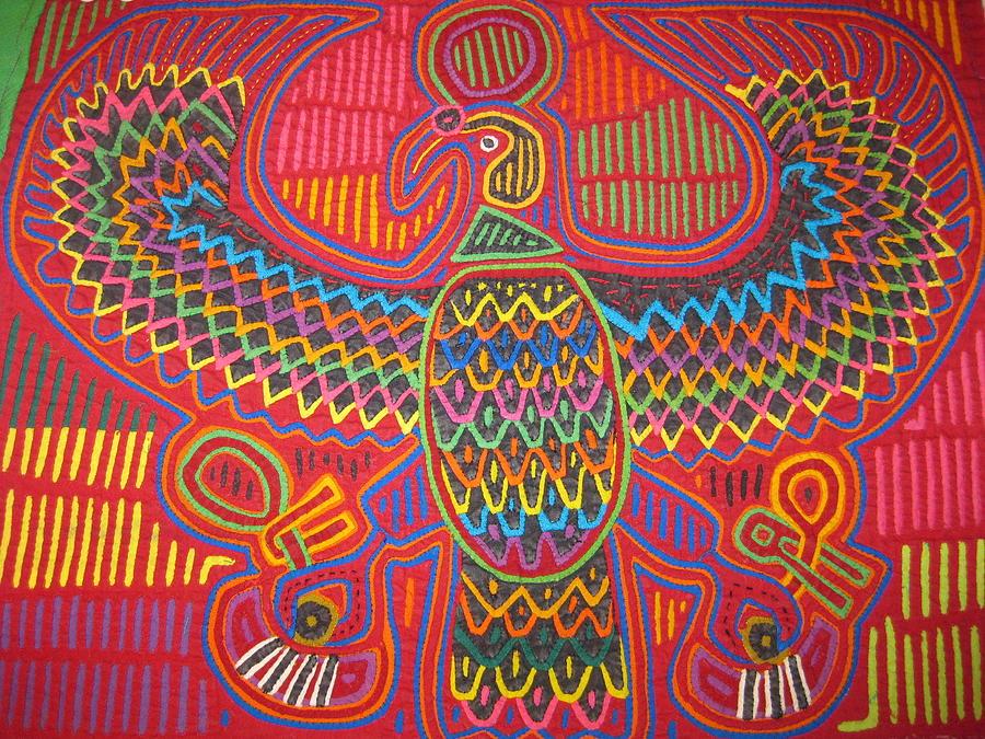 Eagle Mola Vintage San Blas Panama Tapestry - Textile