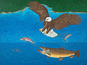 Eagle Trophy Brown Trout Rainbow Trout Art Print Blue Mountain Lake Artwork Giclee Birds Wildlife Painting