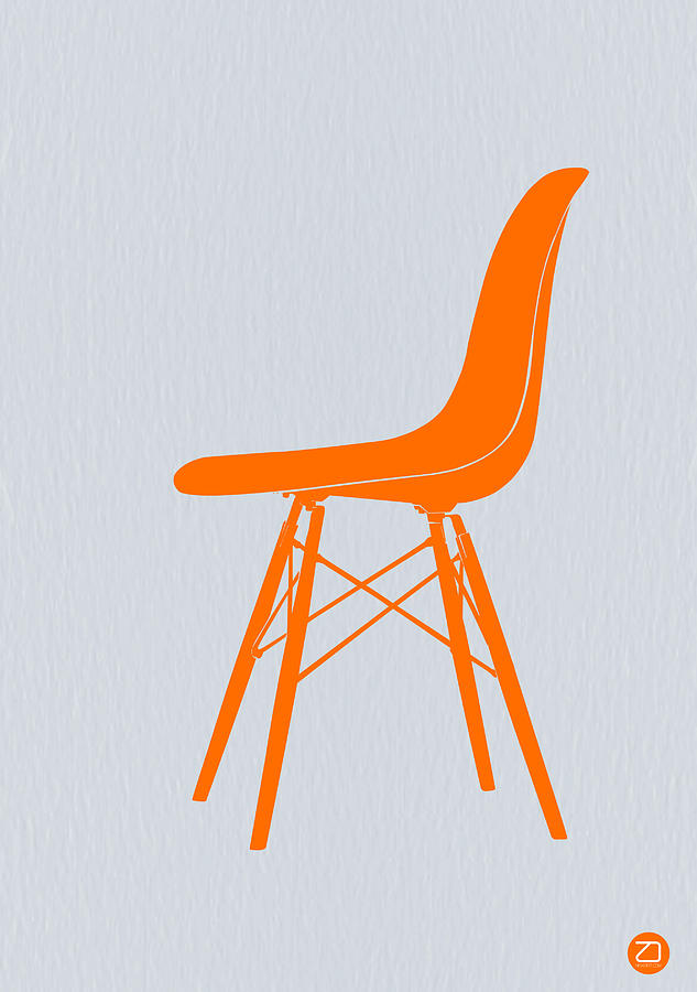 Eames Fiberglass Chair Orange Drawing  - Eames Fiberglass Chair Orange Fine Art Print