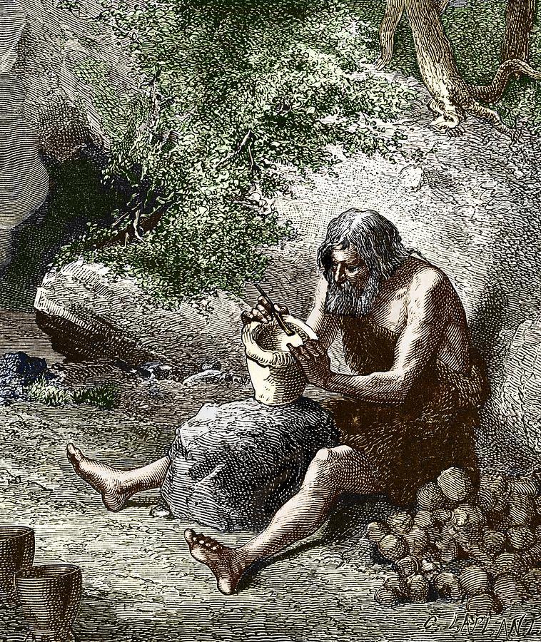 Early Human Making Pottery Photograph