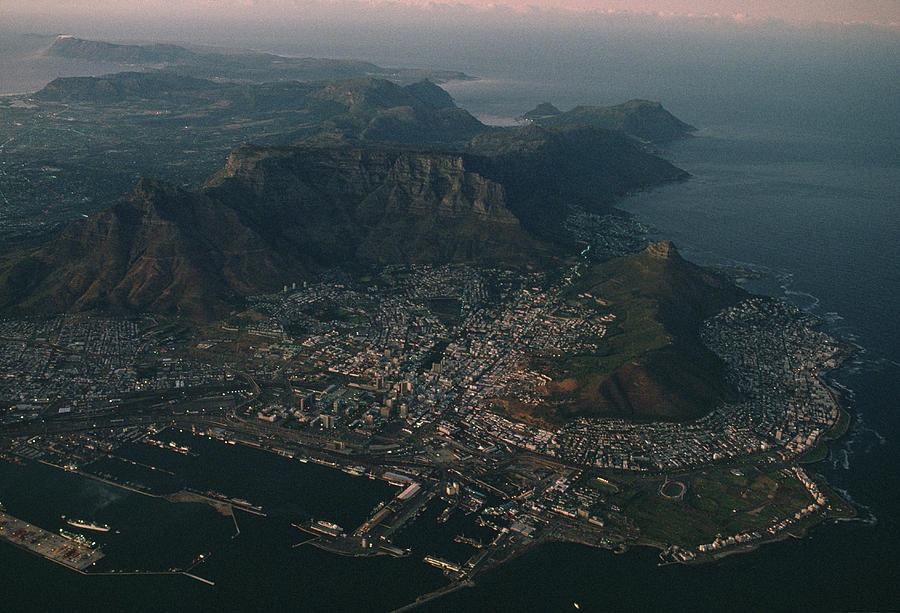 Early Morning Aerial View Of Cape Town Photograph  - Early Morning Aerial View Of Cape Town Fine Art Print