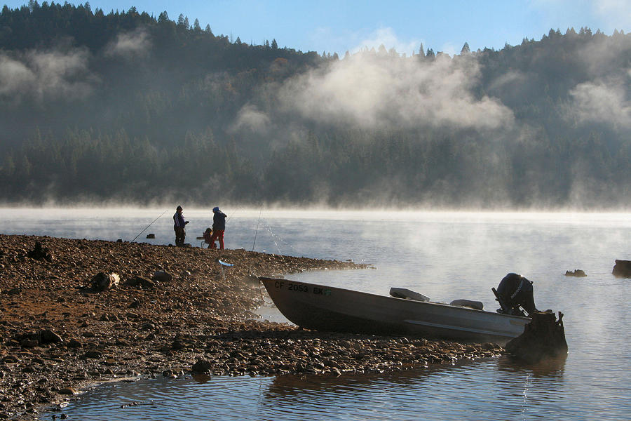 early morning fishing on scotts flat lake photograph by