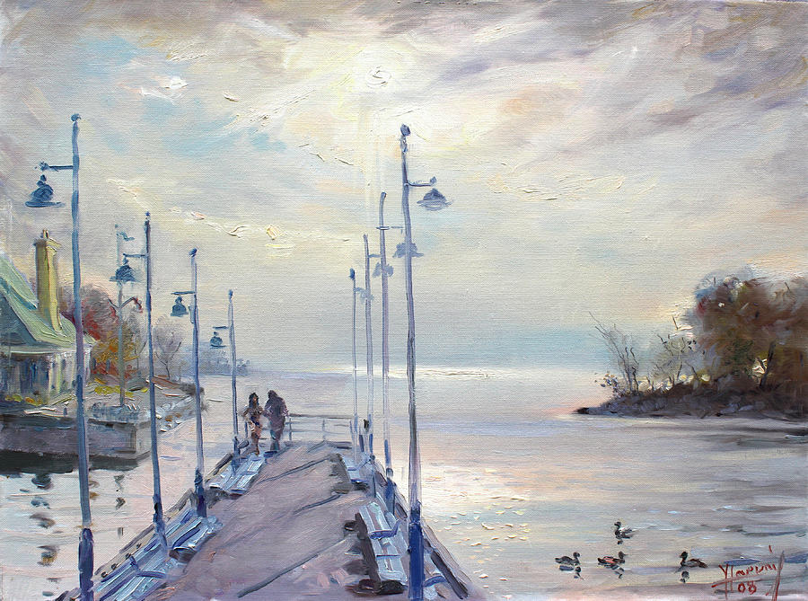 Early Morning In Lake Shore Painting  - Early Morning In Lake Shore Fine Art Print