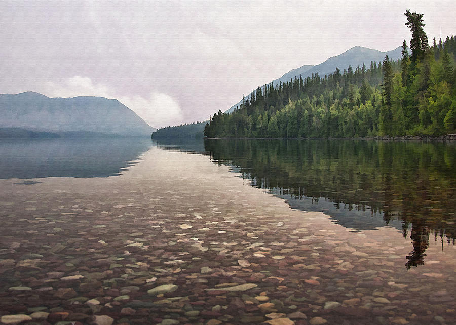 Early Morning On Lake Mcdonald II Digital Art  - Early Morning On Lake Mcdonald II Fine Art Print