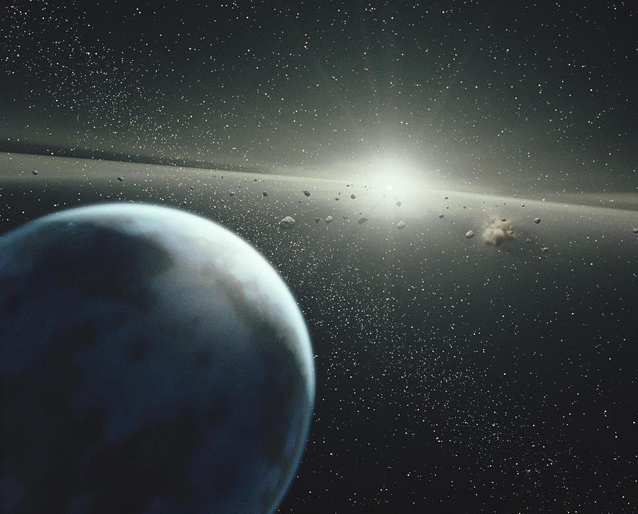 Earth, Asteroid Belt And Star Digital Art by StockTrek