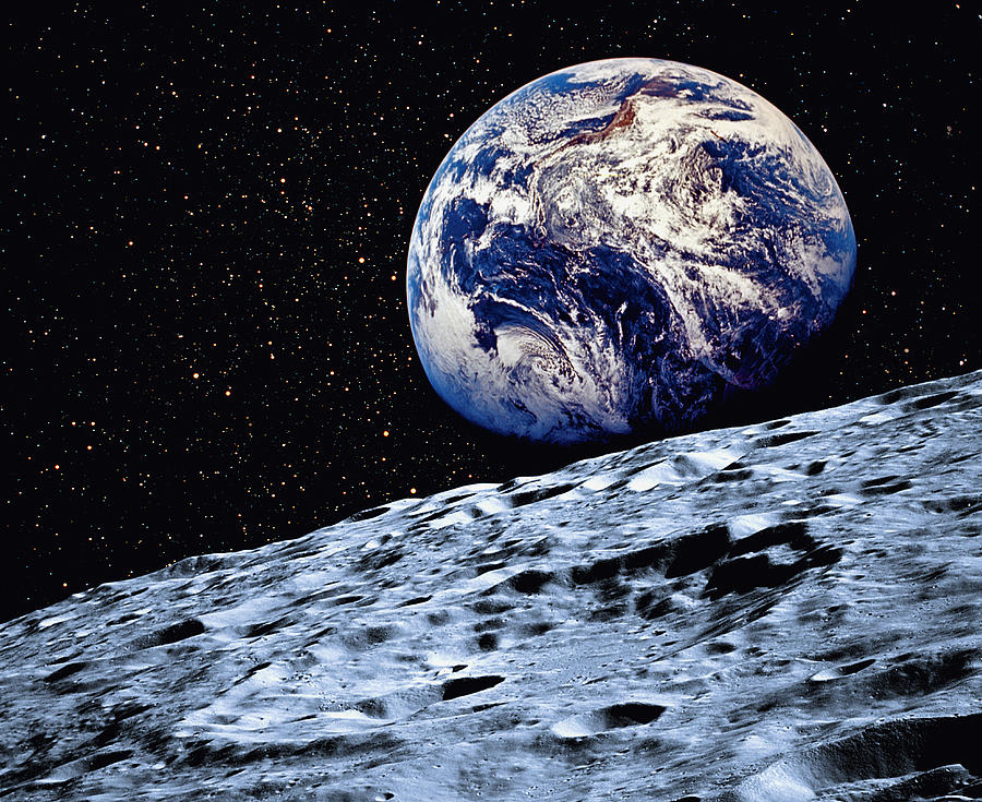 Earth From Moon Surface Earth From The Surface of The