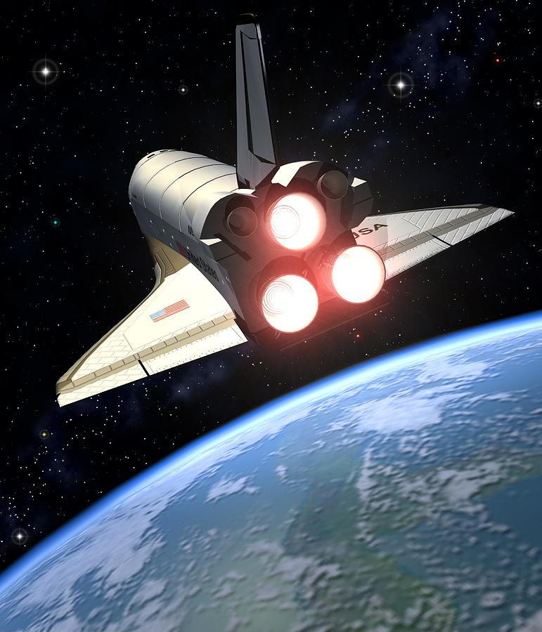 space shuttle trip around earth -#main