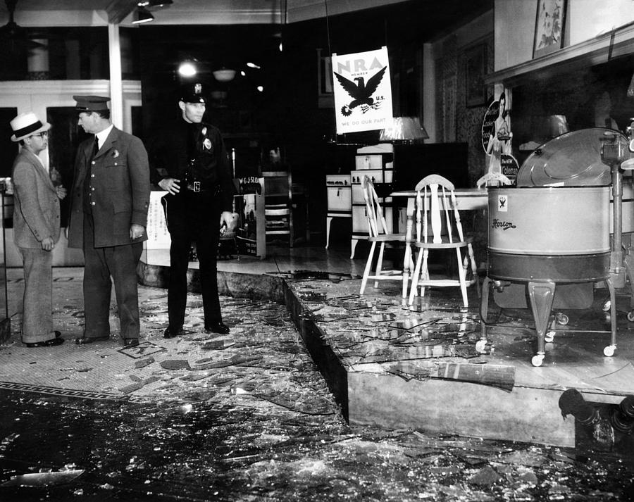 Earthquake Damages A Store In The Heart Photograph