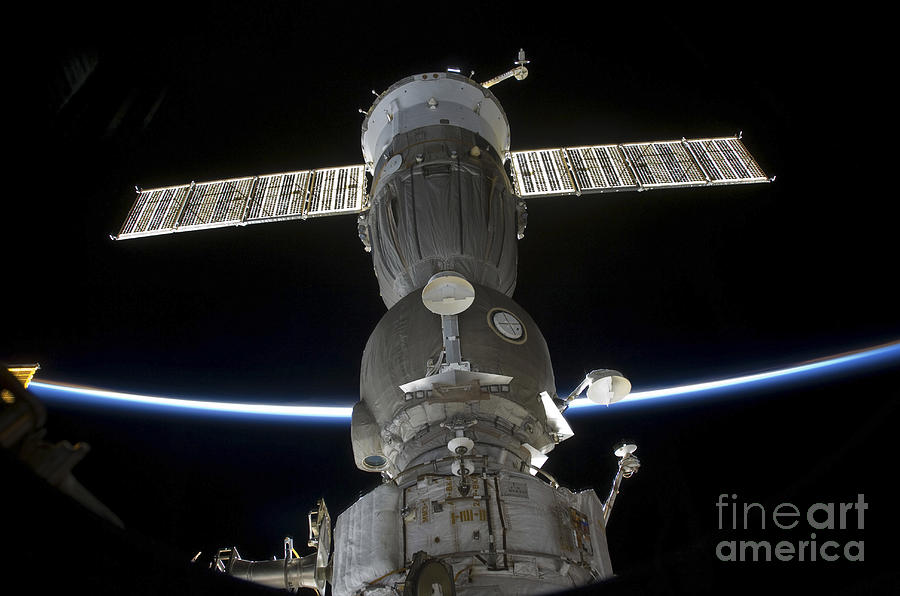 Earths Limb Intersects A Soyuz Photograph  - Earths Limb Intersects A Soyuz Fine Art Print