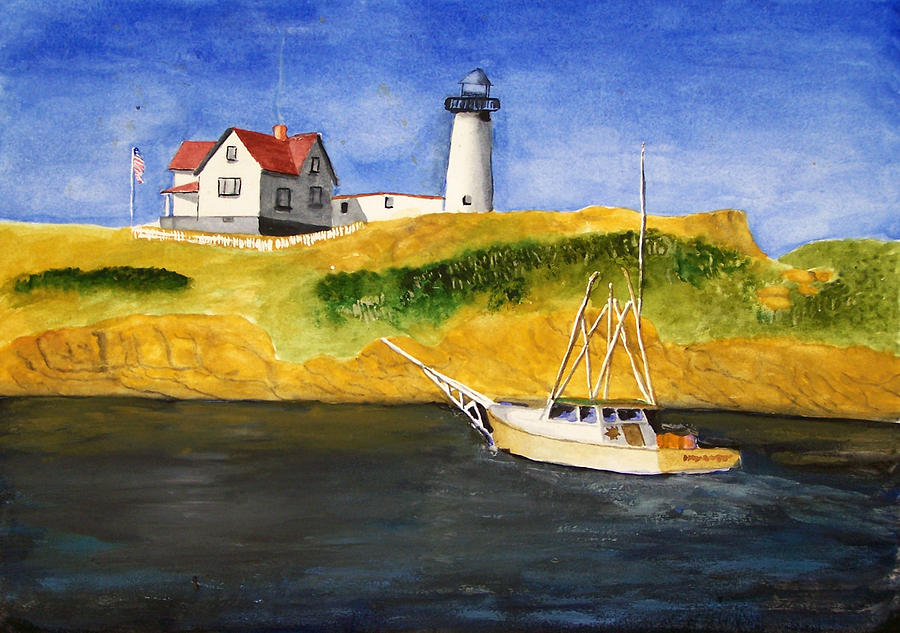 East Coast Lighthouse With Crab Boat Painting  - East Coast Lighthouse With Crab Boat Fine Art Print