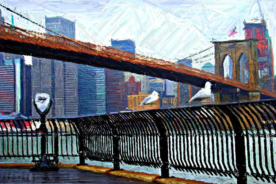 East River Boardwalk Sketch Digital Art  - East River Boardwalk Sketch Fine Art Print