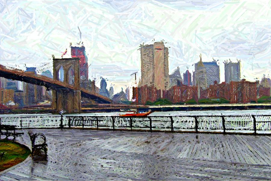 East River Sketch Digital Art  - East River Sketch Fine Art Print