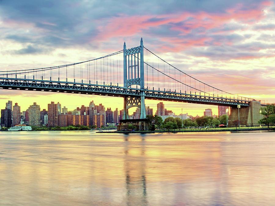 Horizontal Photograph - East River Sunset Over Triboro Bridge by Tony Shi Photography
