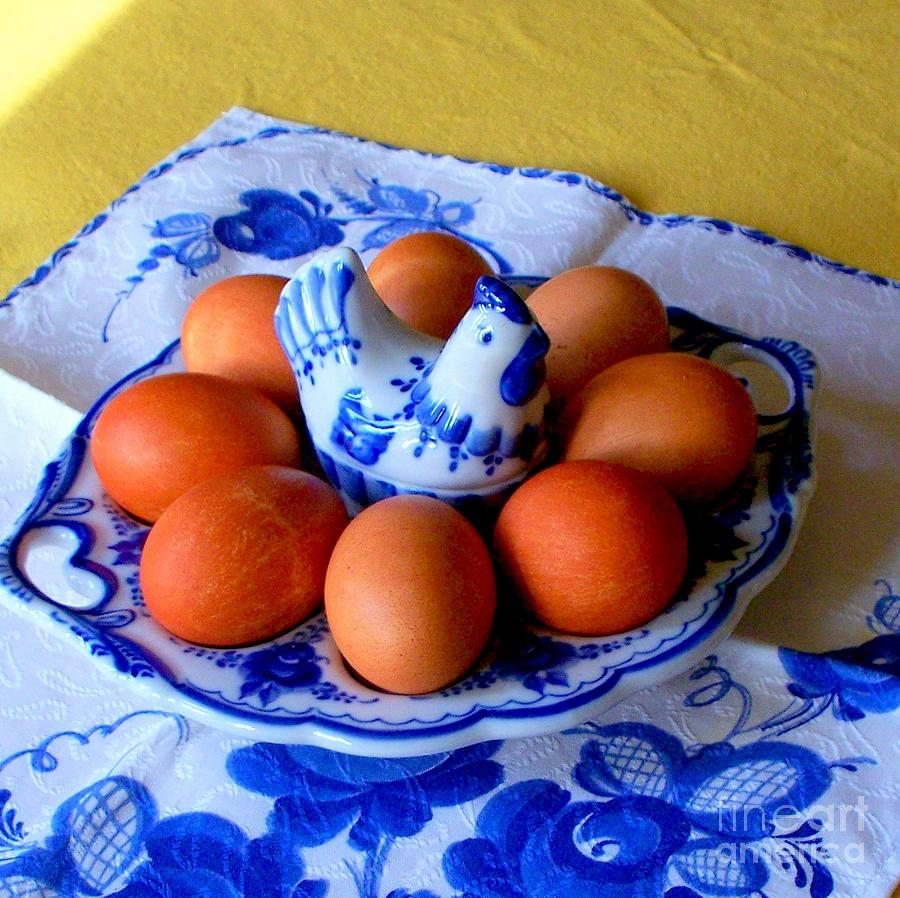 Easter Dyed Eggs In Russian Gzhel Platter Photograph  - Easter Dyed Eggs In Russian Gzhel Platter Fine Art Print