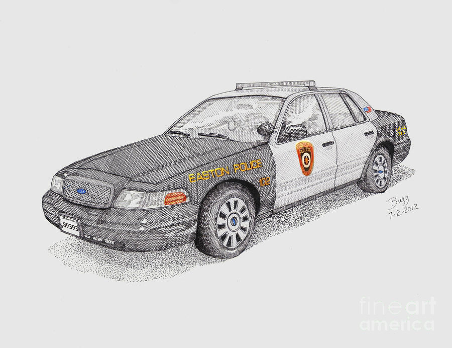 Easton Maryland Police Car Drawing  - Easton Maryland Police Car Fine Art Print