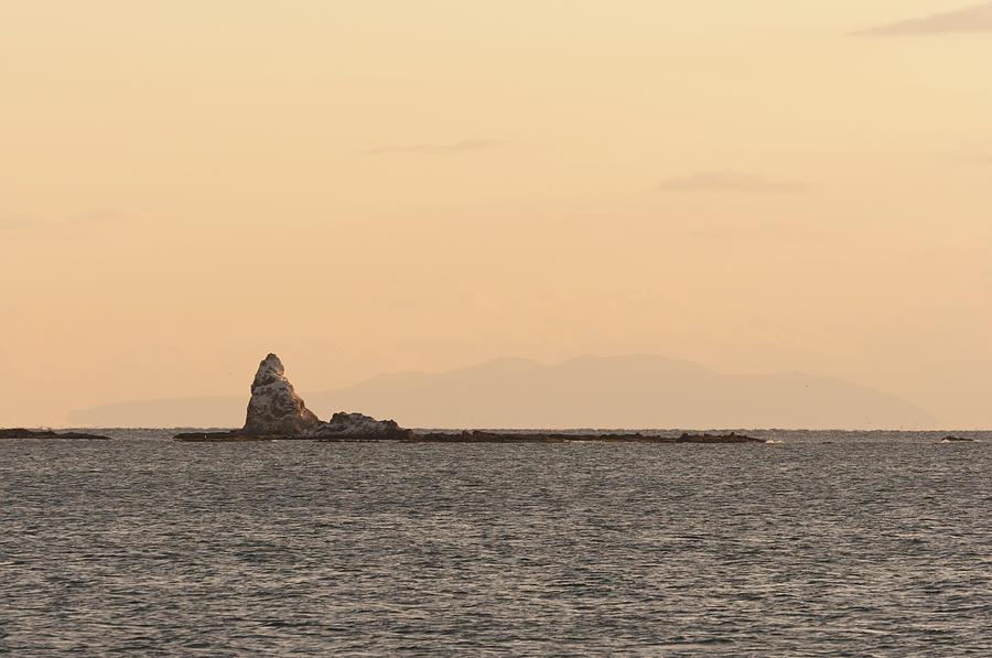 Eboshi-rock Of Evening Glow Photograph