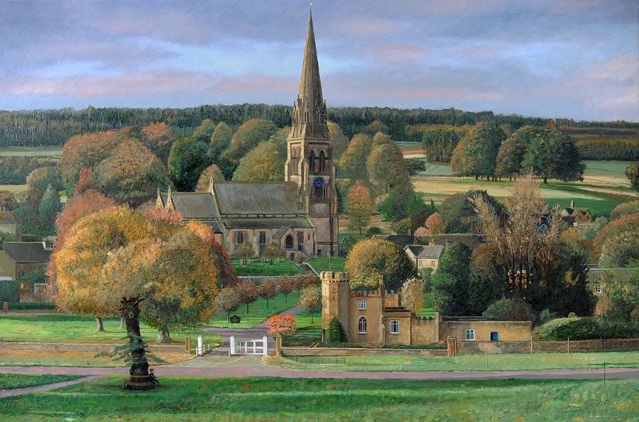 Edensor - Chatsworth Park - Derbyshire Painting  - Edensor - Chatsworth Park - Derbyshire Fine Art Print