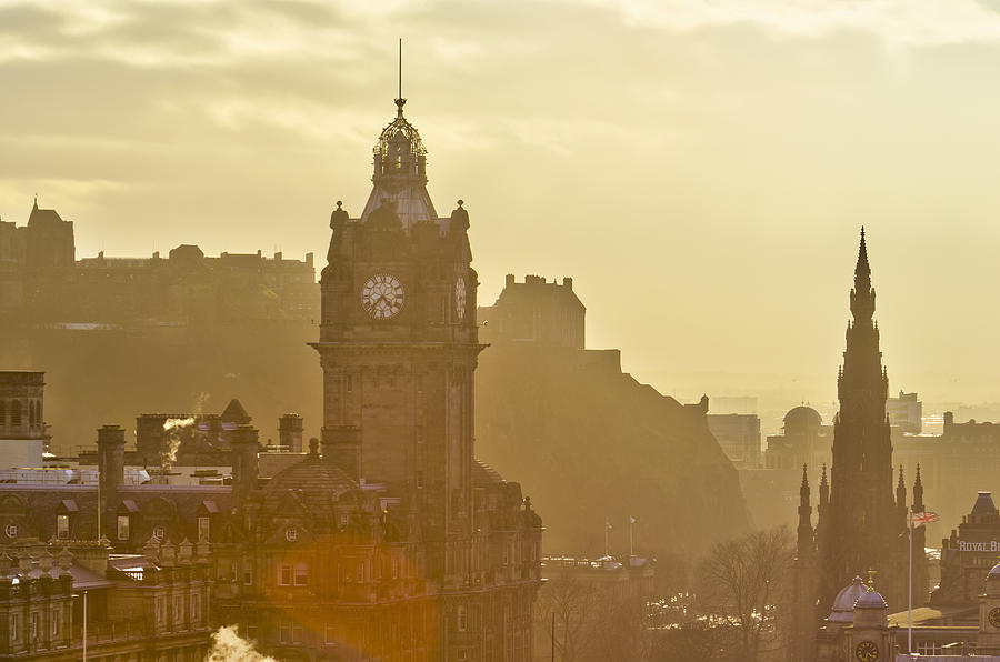Edinburgh Castle, Balmoral Hotel, Scott Monument Photograph  - Edinburgh Castle, Balmoral Hotel, Scott Monument Fine Art Print