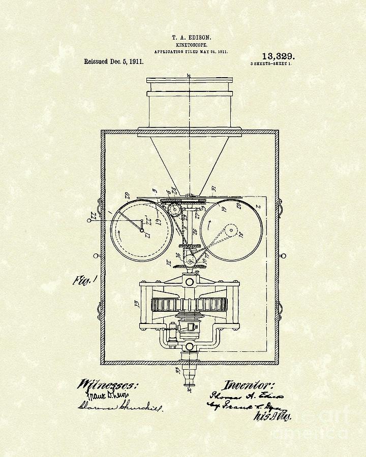 Edison Kinetoscope 1911 I Patent Art Drawing