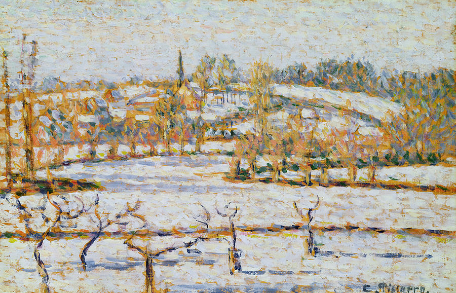 Effect Of Snow At Eragny Painting  - Effect Of Snow At Eragny Fine Art Print