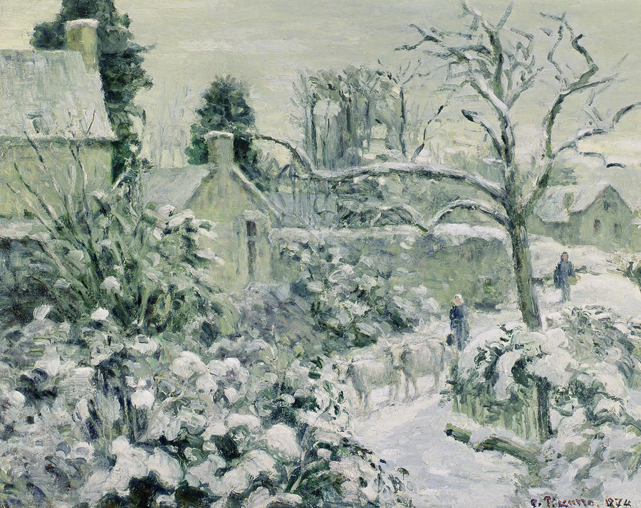Effect Of Snow With Cows At Montfoucault Painting