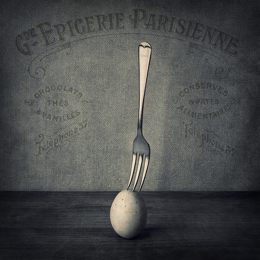 Egg And Fork Photograph