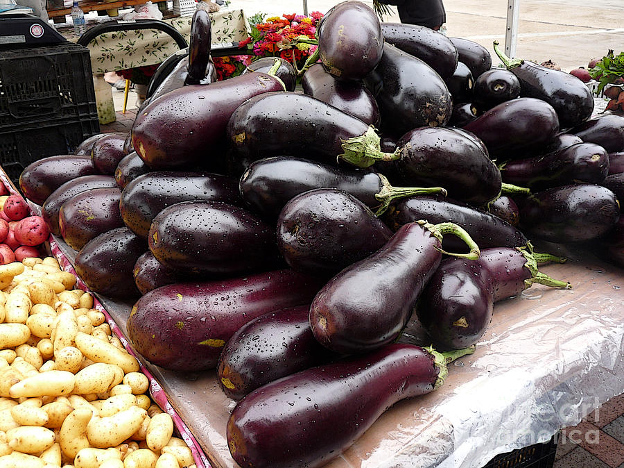 Eggplants And Fingerling Potatoes Photograph