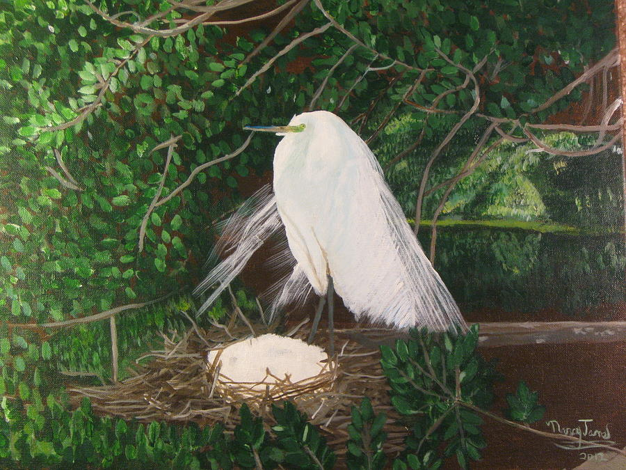 Egret And Nest Painting
