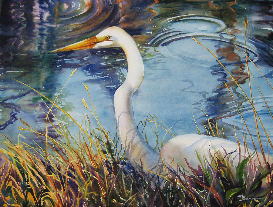 Egret In Cameron Marsh Painting  - Egret In Cameron Marsh Fine Art Print