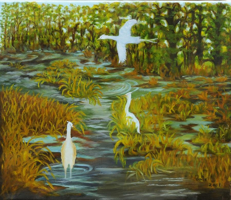 Egrets In The Marsh Painting