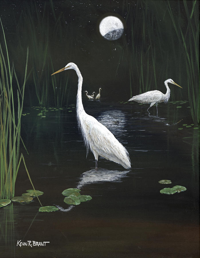 Egret Painting - Egrets In The Moonlight by Kevin Brant
