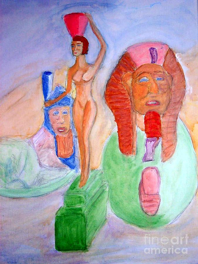 Egyptian Reanimation Of Woman Bearing Offering And Great Sphinx Of Tanis Painting