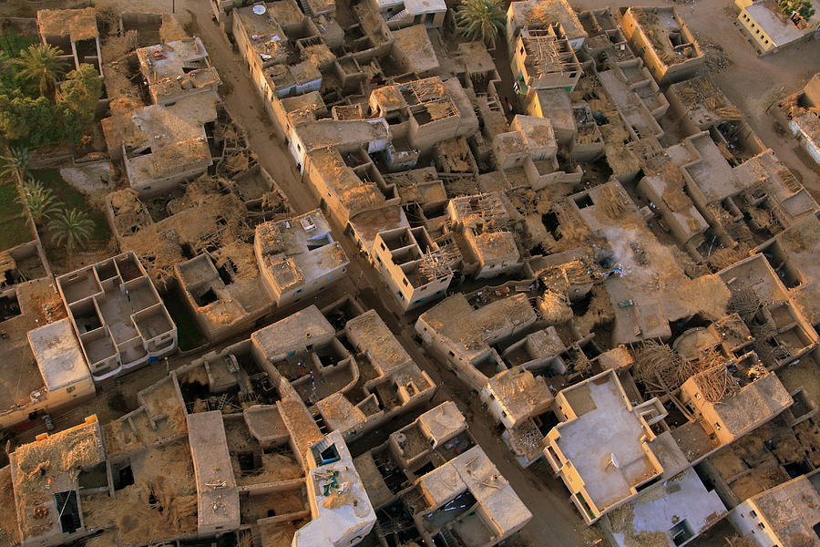 Horizontal Photograph - Egyptian Village From The Air by Joe & Clair Carnegie / Libyan Soup