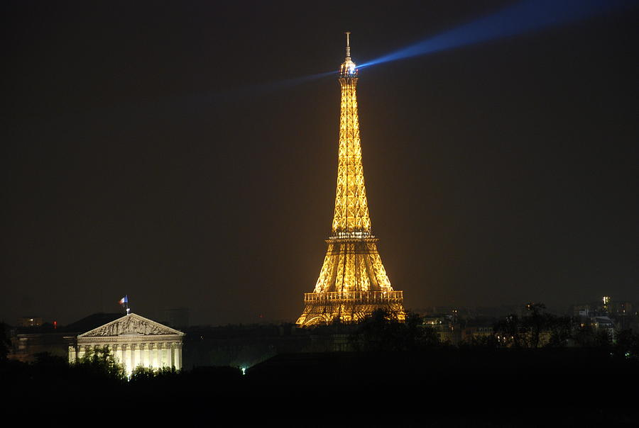 Eiffel Tower At Night Photograph