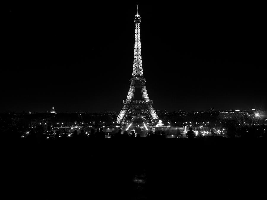 Eiffel Tower Illuminated At Night Black And White ...