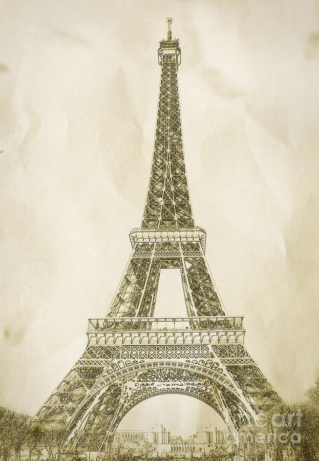 Eiffel Tower Illustration Drawing  - Eiffel Tower Illustration Fine Art Print