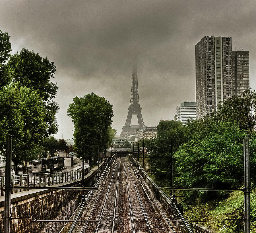 Horizontal Photograph - Eiffel Tower In Clouds by Stéphanie Benjamin