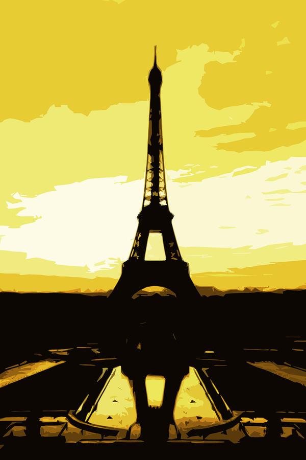 Eiffel Tower In Gold Digital Art