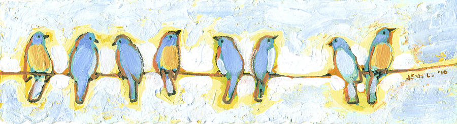 Eight Little Bluebirds Painting  - Eight Little Bluebirds Fine Art Print