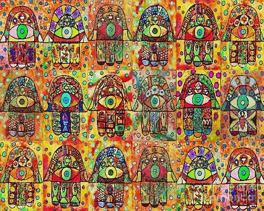 Eighteen Chai Hamsas Painting