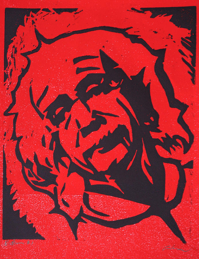 Lino Drawing - Einstein 2 by William Cauthern